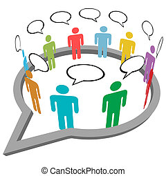 gens, média, intérieur, parole, social, rencontrer, parler