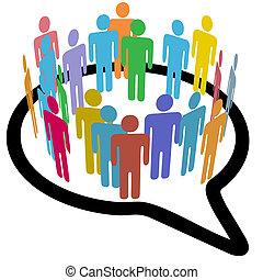 gens, média, parole, intérieur, social, cercle, bulle