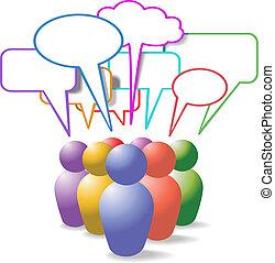 gens, média, symboles, parole, social, bulles