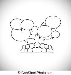 gens, média, -, vecteur, conception, social, communication, ligne