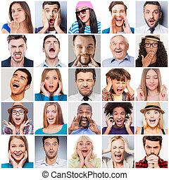 gens, mélangé, emotions., différent, gamme, âge, collage, émotions, exprimer, divers, multi-ethnique