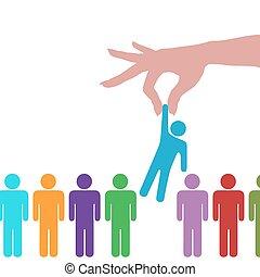 gens, main, personne, ligne, trouver, sélectionner