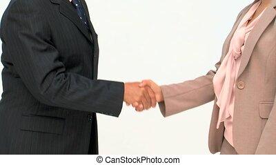 gens, mains, business, deux, secousse