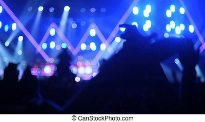 gens, mains, musical, concert, spectacle léger