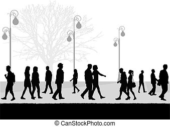 gens, marche., foule