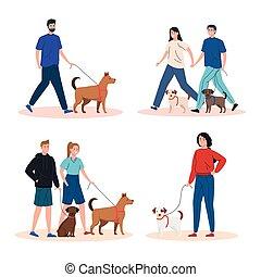 gens marcher, chiens, scènes