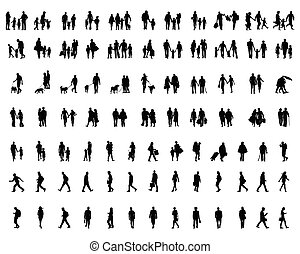 gens marcher, silhouettes