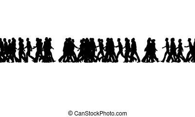 gens marcher, silhouettes, foule