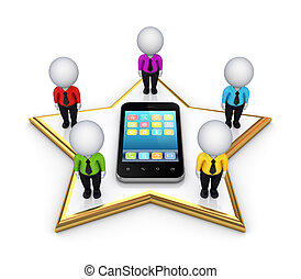 gens, mobile, moderne, téléphone., 3d, étoile, petit