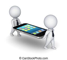 gens, mobile, moderne, téléphone., 3d, petit