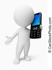 gens, mobile, -, téléphone, petit, 3d
