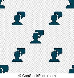gens, modèle, signe., seamless, conversation, vecteur, géométrique, texture., icône