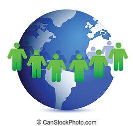 gens, mondiale, autour de
