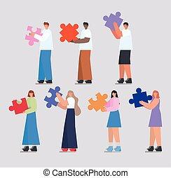 gens, morceaux, puzzle, groupe