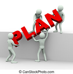 gens, mot, travailler ensemble, plan, 3d, endroit
