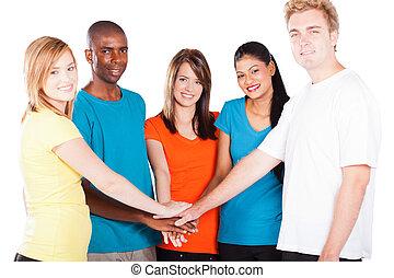 gens, multiculturel, ensemble, mains