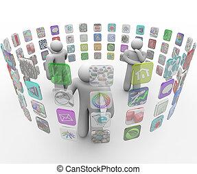 gens, murs, toucher, apps, choisir, projeté, écran
