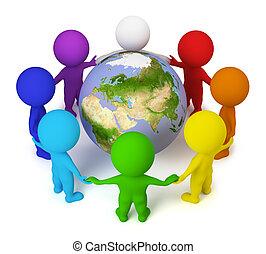 gens, paix, -, petit, la terre, 3d
