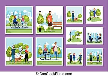 gens, parc, handicapé, scènes, paquet