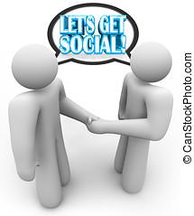 gens parler, laissons, obtenir, social, poignée main, deux, réunion