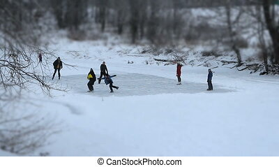 gens, patinage, aller, glace