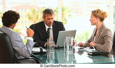 gens, pendant, business, trois, rencontrer