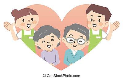 gens, personnes âgées soucient, personnel
