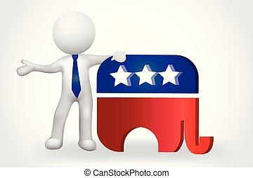 gens, petit, -, éléphant, usa, 3d, symbole