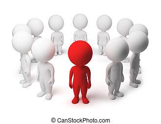 gens, -, petit, allocated, cercle, 3d