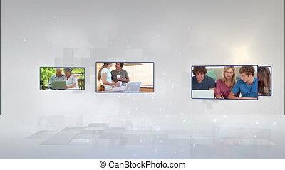 gens, ph, vidéo, portables
