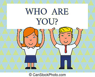gens, photo, signe, vide, sourire, information, deux, demander, aérien, planche, tenue, texte, conceptuel, vous, hands., grand, projection, question., affiche, démontrer, identité, deux, demonstratingal, ou