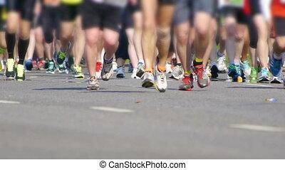 gens, pieds, -, hd, ville, marathon.
