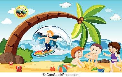 gens, plage, amusement, avoir, océan, scène