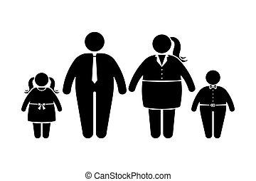 gens, plat, style, icône, obèse, figure, enfants, noir, pictogramme, crosse, set., couple, blanc, graisse, famille, vecteur
