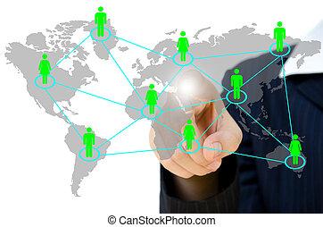 gens, pousser, social, réseau, communication, business, whiteboard., jeune