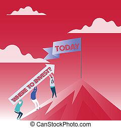 gens, processus, photo, actions, signe, poteau, vide, peak., mountain., aller, demander, tenant argent, conceptuel, plus, projection, question., bannière, sur, investir, haut, texte, flèche, confection, où, ou