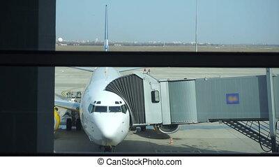 gens, produit, atterrissage, aéroport, avion, closeup, valeur