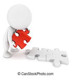 gens, puzzle, 3d, blanc