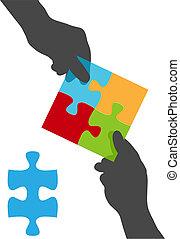 gens, puzzle, mains, solution, équipe, collaboration