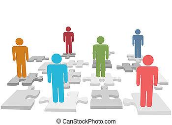 gens, puzzle, morceaux denteux, stand, ressources humaines