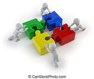 gens, -, puzzles, équipe, petit, 3d