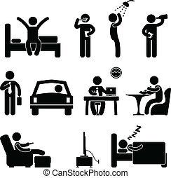 gens, quotidiennement, signe, routine, icône, homme