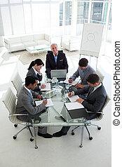 gens, réunion, business, projection, diversité