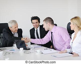 gens, réunion, groupe, business