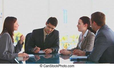 gens, réunion, pendant, business