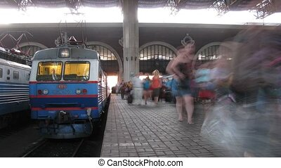 gens, rail, terminal, plate-forme, passe, kazansky
