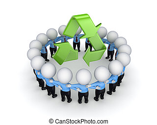 gens, recycler, autour de, symbole., 3d, petit