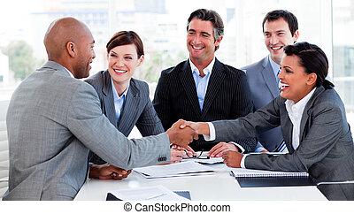 gens, salutation, autre, business, chaque, multi-ethnique