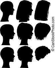 gens, silhouette, portraits, ensemble, têtes, simple, faces