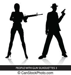 gens, silhouettes, fusil